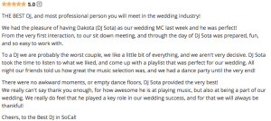 Wedding Wire Review of DJ Sota