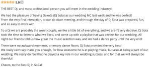 Wedding Wire Review of DJ Sota